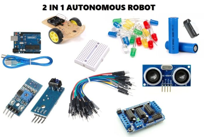 2-in-1 DIY Robot Kit (line following and obstacle avoidance)